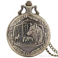 coruja antiga da colar do relógio de bolso venda por atacado-Lobo selvagem 3d tribo lobo bronze retro relógio de bolso homens mulheres moda pingente de animal impressionante quartzo relógio cheio de caçador com colar de corrente