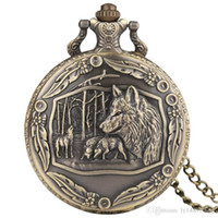 bronze taschenuhr kette groihandel-3D Wilde Wölfe Tribe Wolf Retro Bronze Taschenuhr Männer Frauen Mode Anhänger Awesome Tier Quarz Voll Hunter Uhr mit Halskette