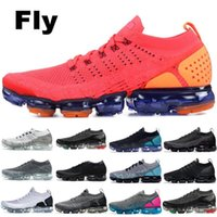 Wholesale knit fabric resale online - 2019 Knit BHM Fly Running Shoes Men Women Rainbow White Vast Grey Dusty Cactus Top Designer Shoes Sport Sneakers