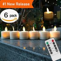 batería de llama led al por mayor-Velas LED de control remoto, paquete de 6 velas de llama sin llama, blanco cálido, con pilas, llama de baile, luz del té en el hogar