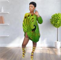 Wholesale mini peacock for sale - Group buy Print Dress Green Long Sleeve Summer Tshirt Dress Fashion Womens Casual Loose Dress Womens Designer Peacock