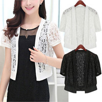 плюс кардиган с коротким рукавом оптовых-Women Fashion Short Sleeve Hollow Out Floral Lace Open Front Loose Fit Cardigan Top Blouse Shirt Tops Lady Blusas Plus Size 5XL