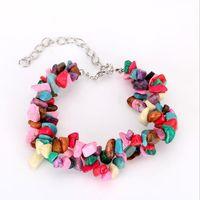 ingrosso braccialetti di rubini naturali-Braccialetto retrò Bohemian Beach vento naturale ghiaia rubino braccialetto di perline femminile gioielli di moda