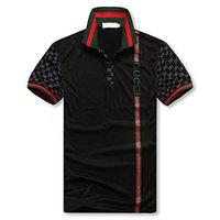 atlar gömlek moda toptan satış-2018 luxurys İtalya tasarımcıları polo gömlek t shirt Luxurys Markalar yılan arı çiçek nakış erkek Yüksek sokak moda at polo Tişört polo