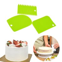 Wholesale fondant edge cutters resale online - 3PCS Cream Scraper Irregular Teeth Edge DIY Scraper Cake Decorating Fondant pastry cutters Baking Spatulas