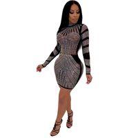 vestidos americanos para mulheres venda por atacado-Mulheres Novo Estilo Sexy Night Club Moda Conjunto trado Redondo Colarinho Europeu E Americano Vento Vestidos