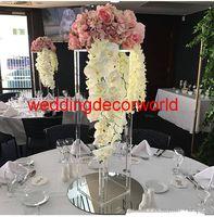 acryl blumen vasen großhandel-New style mental acryl Kerzenhalter Blumenvase Rack Candle Stick Hochzeit Tischdekoration Event Straße Blei Kerzenständer decor0006