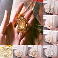 reloj de arena vintage al por mayor-Reloj de arena Collar Time Turner collares Vintage Gold Silver colgante collar para mujer Lady Girl joyería para mujer al por mayor
