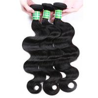siyah saç uzatmalar 18 inç toptan satış-Remy İnsan Saç Demetleri Ile Kapatma Brezilyalı Remy Bakire Vücut Saç Uzantıları Tissage İnsan Örgüleri 8-28 Inç Siyah 8A 3 Demetleri Peruk