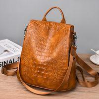 Wholesale girls school back pack resale online - Designer Leather Female Backpack Travel Large Capacity Ladies Back Pack School Bag For Teenage Girls