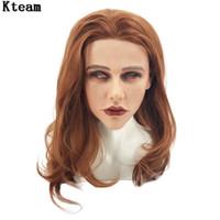 máscara de silicona media al por mayor-De calidad superior hecho a mano de silicona Sexy y dulce mitad mujer cara Ching Crossdress máscara Crossdresser muñeca