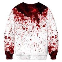 Wholesale man printed cloth style for sale - Group buy Hoodies Halloween Style Blood Drops Print Fashion Loose Tops Homme Circular Collar Casual Cloth Mens d Print