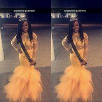 ingrosso yellow dress shirt for girls-2019 Vintage Sheer Maniche lunghe oro giallo Prom Dresses Mermaid Applique Bead African Black Girls Abiti da sera Red Carpet Dress