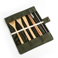 ingrosso set da cucina portatile-7pcs / set Portable Set posate Esterni bambù posate bacchette Coltello Forchetta Cucchiaio da tavola Set CCA11849-A 120set