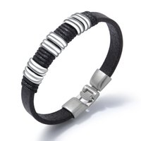 punk bracelets for boys 2021 - PU leather bracelets for men sliver stainless steel Retro style punk hand chain mens jewelry for boys gifts