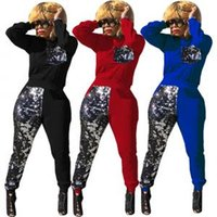 Wholesale women gym clothes sets for sale - Group buy Sequins Patchwork Tracksuit Women Long Sleeve Pullover Sweatshirts Top Pants Set Outdoor Sports Gym Clothing OOA6188