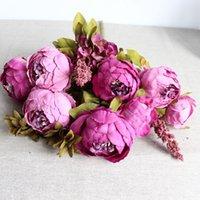 ingrosso fiore artificiale rosa rosa rosa-Decorativo Peonia Rosa Viola Fiore artificiale Matrimonio Casa Soggiorno Restauro di antichi modi Vendita calda Fiori finti 16 5xlD1