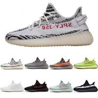 sapatos unisex para mulheres venda por atacado-Adidas yeezy supreme 350 boost Manteiga Estática 350 Sapatos de Grife Dos Homens Semi-Congelados Amarelo Gergelim Kanye West Sapatos de Corrida das mulheres Branco Creme Zebra 5-12