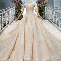 tamanho da tampa da chave venda por atacado-Plus Size Vestidos de casamento Arábia Saudita ilusão de luxo de alta pescoço abertas buraco da fechadura da tampa de volta vestido de bola manga vestidos de noiva vestidos de novia