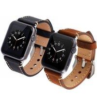 коричневый кожаный браслет оптовых-Ремешок для apple watch band 42 мм/38 мм Кожаный ремешок для часов браслет наручный ремень для iwatch серии 3/2/1 металлическая пряжка черный коричневый