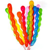 parti dekorasyonları için balonlar toptan satış-Yeni 100 adet / grup Renkli Lateks Kauçuk Spiral Balonlar Düğün Parti Çocuk Doğum Günü Partisi Dekorasyon için Büküm Balon