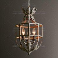 candelabros blancos de descuento al por mayor-blanco que cuelga de descuento pequeña araña de luces de mini globo arañas con velas jaula de hierro linterna más populares de iluminación