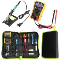 Wholesale iron solder tool kits for sale - Group buy EU US Plug V W Electric Soldering Iron Kit Digital Multimeter Combination Tool Set Adjustable Temperature Welding Tools