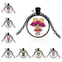 Wholesale kids gems for sale - Group buy Surprise Girls Cartoon Glass Necklace mm Time Gem Jewelry Necklaces Kids Characters Sweater Chains Children Charms Pendant Decors A41005