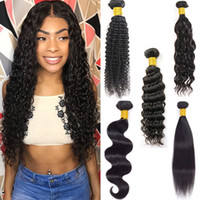 Wholesale malaysian kinky straight hair weave for sale - Group buy Brazilian Straight Virgin Human Hair Bundles Raw Unprocessed Indian Hair Body Water Wave Extensions Deep Wave Kinky Curly Wefts Bulk Order