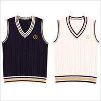 черные буквы свитера оптовых-British Preppy Style V-Neck Vest JK School Uniform Sleeveless Sweater Letters Embroidery Cotton Tops Black & White