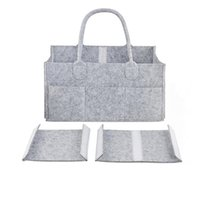 Wholesale baby cars bags for sale - Group buy Baby Diaper bags Gray infant Diaper Tote Bag Portable Car Travel Organizer Felt Basket newborn Girl Boy nappy Storage bag MMA2351