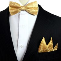 ingrosso cravatta gialla in mensola-Paisley Floral Solid Gold Tuxedo Papillon Pre-legato Mens 100% Seta regolabile Hanky ​​Set formale Moda Casual Party
