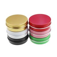 küçük boş kaplar toptan satış-1 Oz / 30 ml 30g Alüminyum Teneke Kavanoz Kozmetik Örnek Metal Teneke Boş Konteyner Toplu Yuvarlak Pot Vida Cap Kapaklı Küçük Ons