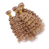 renk 27 kıvırcık toptan satış-Saf Renk # 27 Derin Dalga Hint Virgin İnsan Saç 4 Paketler 10-30 Inç Bal Sarışın Renkli Derin Kıvırcık Saç Uzatma 4 Adet / grup