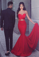 Wholesale evening gown backless online - Sexy Mermaid Red Evening Dresses Sweetheart Backless Satin Long Prom Dress Custom Made Party Gowns