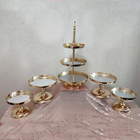 Wholesale mirrored stands for sale - Group buy 1pcs Mirror Wedding Decoration or Tier Cupcake Display Gold Metal Cake Stand Luxury Party Table Decoration