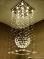 ingrosso luci soffitto forma quadrata-Lampadari moderni quadrati di cristallo goccia di pioggia a filo soffitto plafoniera scale lampade a sospensione infissi hotel villa lampada a forma di sfera di cristallo