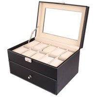 Wholesale glasses organizer for sale - Group buy 20 Slot Leather Watch Box Case Organizer Glass Top Display Jewelry Storage Holder Collection Box Black