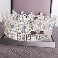coronas redondas para novias al por mayor-Trendy Silver Gold Tiara Luxury Round Big Crowns Novia Accesorios para el cabello Crystal Queen Royal Crown Wedding Hair Jewelry