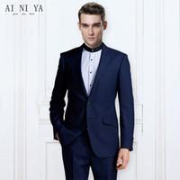 homens azul escuro calcinha venda por atacado-Blazers Calças Vest 2 Pieces Define Casual Dark Blue Negócios Groomsmen Wedding Calças casaco Jacket Homens de Moda Custom Made