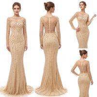 Wholesale elegant mermaid quinceanera dresses for sale - Group buy 2019 Elegant Champagne Luxury Beaded crystal Mermaid Evening Dresses yousef aljasmi Robe De Soiree sheer tulle neck arabic Prom Formal Gowns