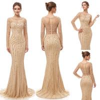 vestido de noche pura con cuentas al por mayor-2019 Elegante Champagne de lujo con cuentas de cristal sirena vestidos de noche yousef aljasmi Robe De Soiree puro cuello de tul árabe Prom Vestidos formales