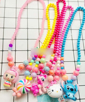 Wholesale candy bead necklace for sale - Group buy Pretty Baby Girls Chunky Bead Necklace Cartoon Pendant Candy Color Imitation Pearl Kids Bubblegum Necklace Girls Jewelry Y1921