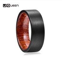 Wholesale tungsten ring brushed resale online - 8mm Men s Ring Black Brushed Wood Inner Ring Tungsten Steel Engagement Proposal