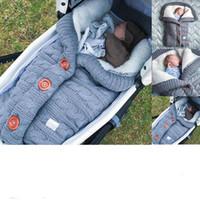 bebek arabası için bebek uyku tulumları toptan satış-2019 Bebek Düğmesi Uyku Tulumu Bebek Açık Bebek Arabası Uyku Tulumu Yün Örgü Artı Kadife Kalın Sıcak