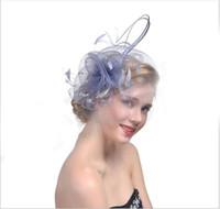parti başörtüsü örtüsü toptan satış-Küçük şapka gelin peçe headdress parti gelin saç tüy headdress