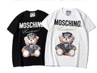 desenho de desenho de impressão de camisetas venda por atacado-Paris Moda Maré new womens Design T-Shirt Casual de Alta Qualidade Dos Desenhos Animados Urso Padrões de impressão t Camisas Hip hop branco estilo conciso