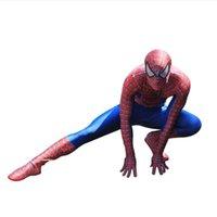 zentai spiderman lycra blue venda por atacado-Novo estilo Lycra Spandex Spiderman Hero eu unitard traje da mascote S-XXXL vermelho azul