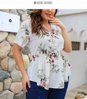 Wholesale korean fashion kimono online - Women Blouse Floral Shirts Korean Short Sleeve Flower Ruched Blouse Lady Summer Top Plus Size Women Shirt XL XL J190587