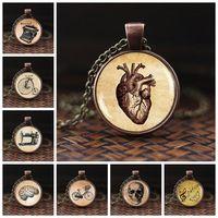 Wholesale cabochon hearts resale online - Anatomical Heart Necklace Vintage Jewelry Anatomy Heart Glass Dome Cabochon Pendant Bronze Long Chain Necklace Women